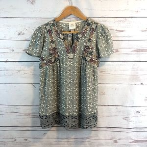 Knox Rose • Top • Gray • Embroidered • XS
